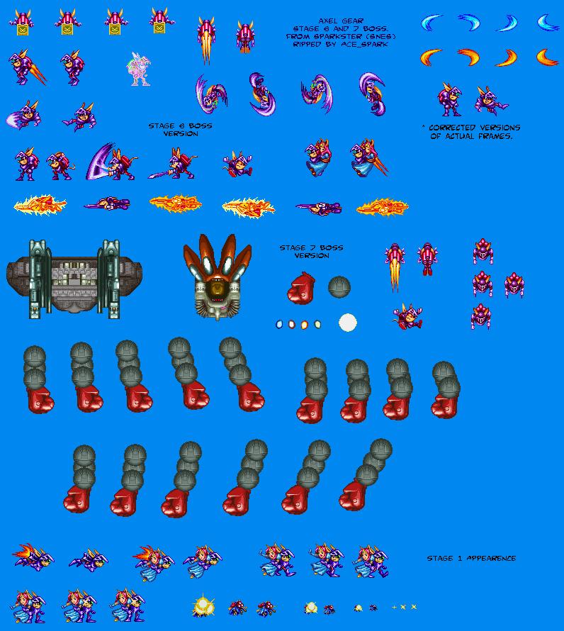 The Sprite Cemetery: Axel Gear  Sparkster  Super Nintendo